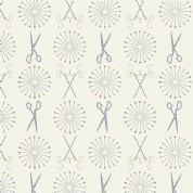 Lewis & Irene Threaded With Love - 5078 - Pins and Needles on Cream - A182.1 - Cotton Fabric